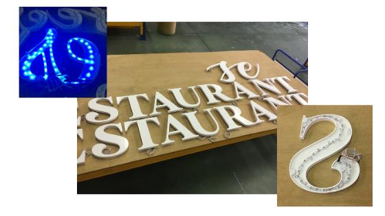 enseigne lumineuse restaurant extérieur